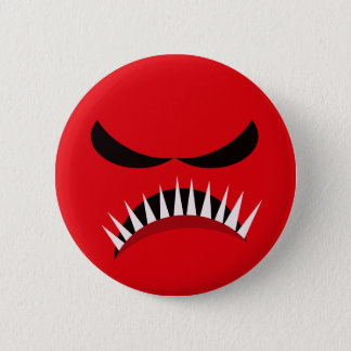Angry Monster With Evil Eyes and Sharp Teeth Red Pinback Button