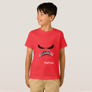 Halloween Themed Angry Monster With Evil Eyes and Sharp Teeth Red T-Shirt