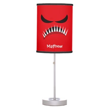 Halloween Themed Angry Monster With Evil Eyes and Sharp Teeth Red Table Lamp
