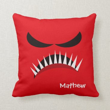 Halloween Themed Angry Monster With Evil Eyes and Sharp Teeth Red Throw Pillow