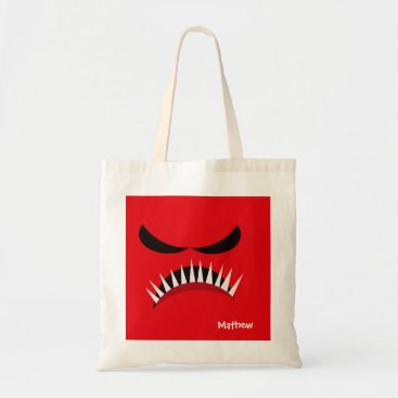 Halloween Themed Angry Monster With Evil Eyes and Sharp Teeth Red Tote Bag