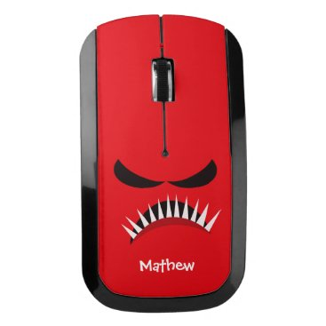 Halloween Themed Angry Monster With Evil Eyes and Sharp Teeth Red Wireless Mouse