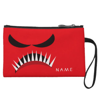 Angry Monster With Evil Eyes and Sharp Teeth Red Wristlet Wallet