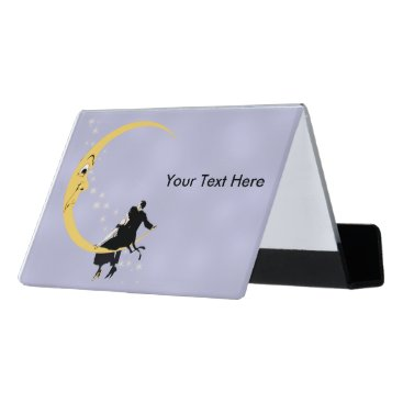 Professional Business Angry Moon Looking at Couple white Twinkle Stars Desk Business Card Holder
