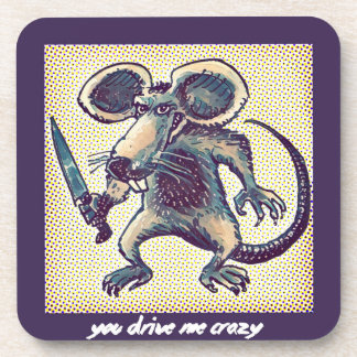 angry mouse holds knife funny cartoon beverage coaster
