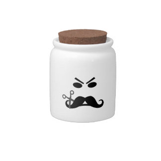 Angry Mustache Smiley custom candy jar
