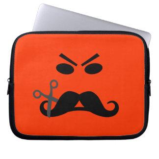 Angry Mustache Smiley custom laptop sleeve