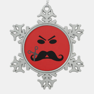 Angry Mustache Smiley custom ornament