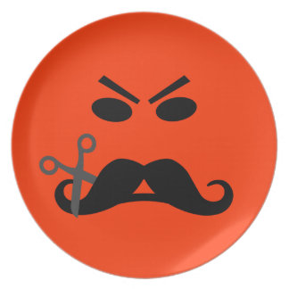 Angry Mustache Smiley custom plates