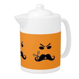 Angry Mustache Smiley custom teapot
