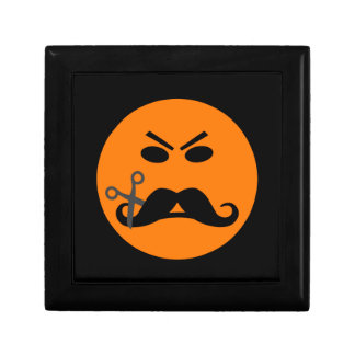 Angry Mustache Smiley gift / jewelry / trinket box