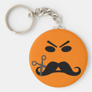 Angry Mustache Smiley key chain