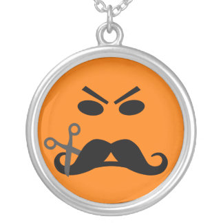 Angry Mustache Smiley necklace