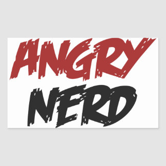 Angry Nerd Rectangle Stickers