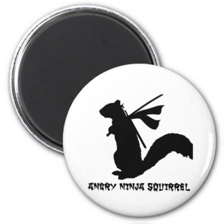 Angry Ninja Squirrel Collection 2 Inch Round Magnet