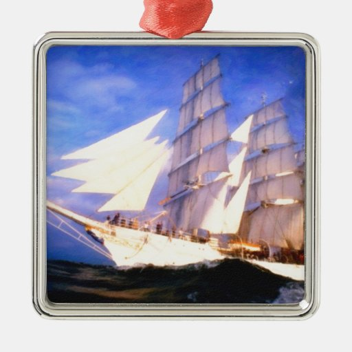 angry ocean 2 square metal christmas ornament