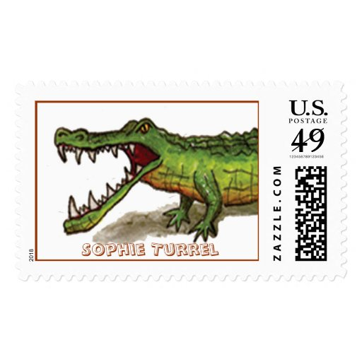 Angry Ole Gator by Sophie Turrel Postage Stamps