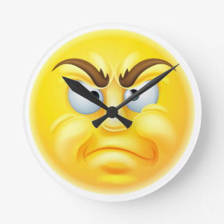 Angry or Disapproving Emoticon Emoji Round Clock