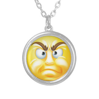 Angry or Disapproving Emoticon Emoji Round Pendant Necklace