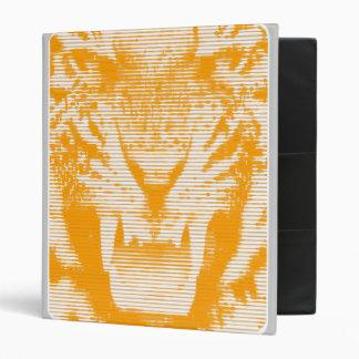 Angry Orange Tiger Horizontal Lines Binder