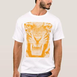 Angry Orange Tiger Horizontal Lines T-Shirt