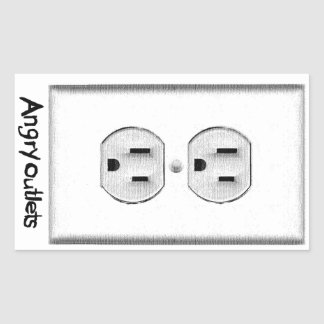 Angry Outlets Rectangle Sticker