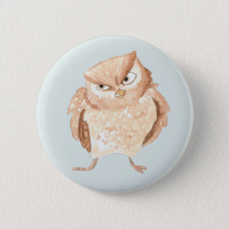 Angry Owl Watercolor Pinback Button