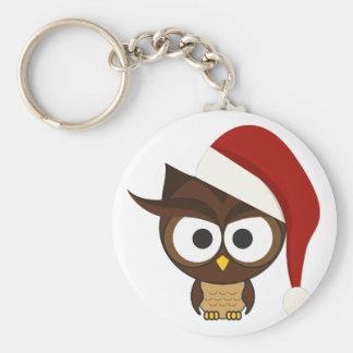 Angry Owl wearing Santa Hat Keychain