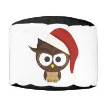 Angry Owl wearing Santa Hat Pouf