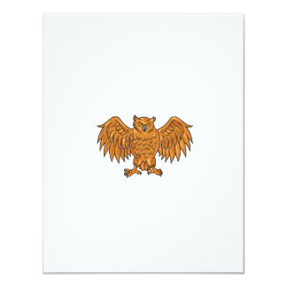 Angry Owl Wings Spread Drawing Card