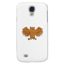 Angry Owl Wings Spread Drawing Samsung Galaxy S4 Case
