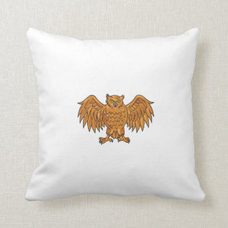 Angry Owl Wings Spread Drawing Throw Pillow