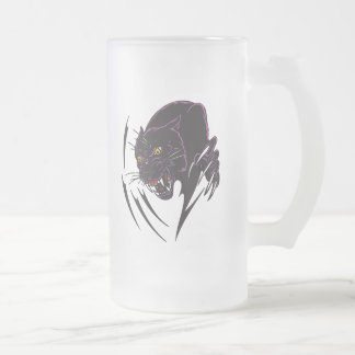 Angry Panther Frosted Glass Beer Mug
