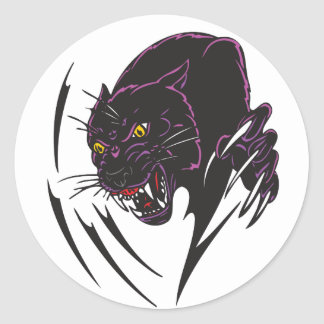 Angry Panther Classic Round Sticker