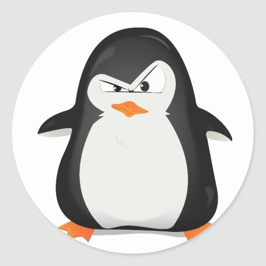 Angry Penguin Classic Round Sticker