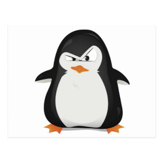 Angry penguin design postcard