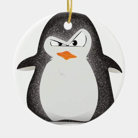 Angry Penguin Glitter Photo Print Ceramic Ornament
