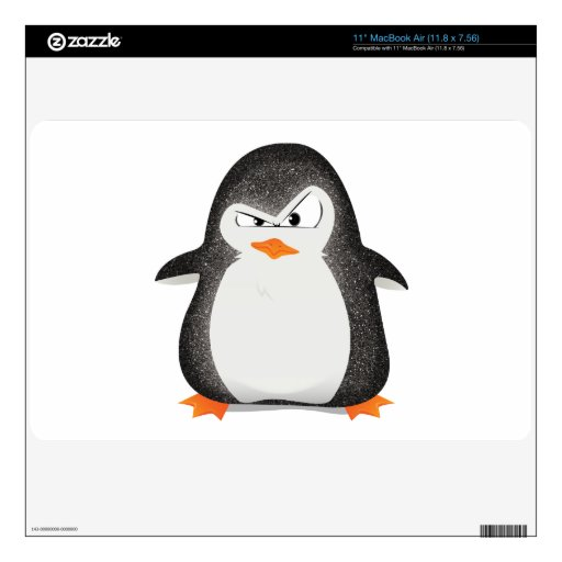 Angry Penguin Glitter Photo Print Decal For MacBook