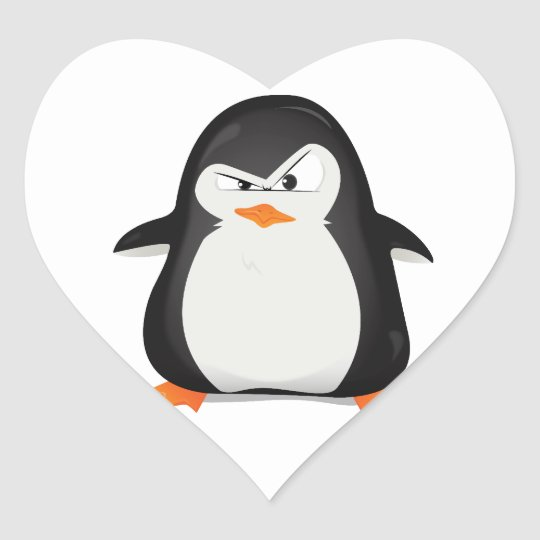 Angry Penguin Heart Sticker