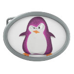 Angry Penguin Pink Glitter Photo Print Belt Buckle