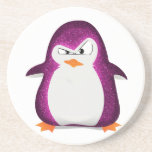 Angry Penguin Pink Glitter Photo Print Drink Coaster