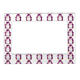 Angry Penguin Pink Glitter Photo Print Magnetic Frame