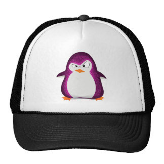 Angry Penguin Pink Glitter Photo Print Trucker Hat