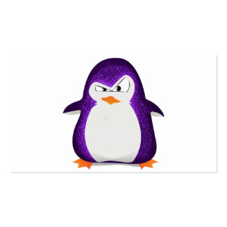 Angry Penguin Purple Glitter Photo Print Business Card