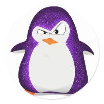 Angry Penguin Purple Glitter Photo Print Classic Round Sticker