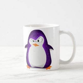 Angry Penguin Purple Glitter Photo Print Classic White Coffee Mug
