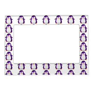 Angry Penguin Purple Glitter Photo Print Magnetic Picture Frame