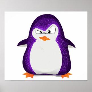 Angry Penguin Purple Glitter Photo Print