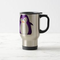 Angry Penguin Purple Glitter Photo Print Travel Mug