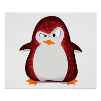 Angry Penguin Red Glitter Photo Print